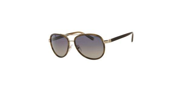 Pánske khaki slnečné okuliare Calvin Klein so zlatými detailami a…