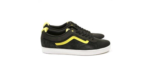 Pánske čierne tenisky so žltými detailmi Vans