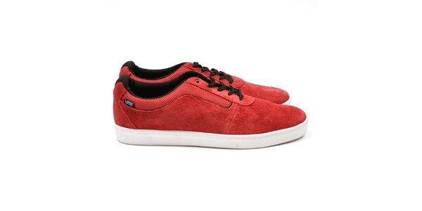 Pánske červené topánky s čiernymi šnúrkami Vans