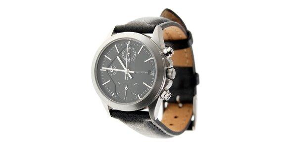 Dámske oceľové hodinky Marc O´Polo s čiernym koženým remienkom