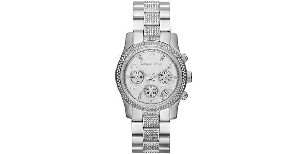 Dámske ocelové hodinky Michael Kors s kryštálikmi okolo ciferníku a na remienku
