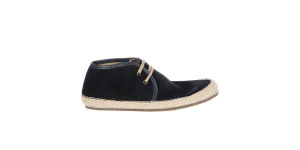 Pánske tmavo modré semišové topánky Hudson s jutovým lemom