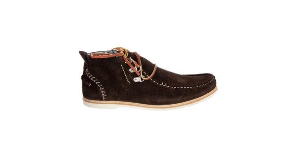 Pánske tmavo hnedé semišové topánky Hudson
