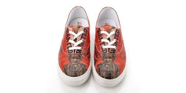 Pánske červené topánky s potlačou Elite Goby