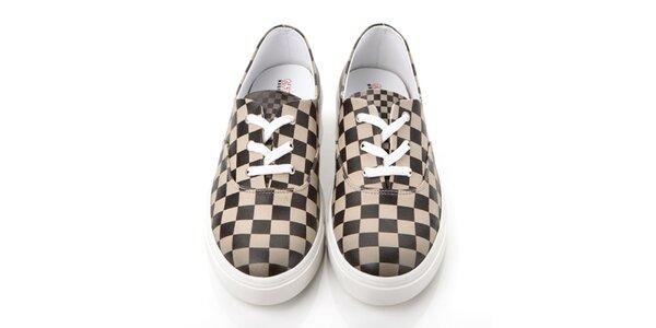 Pánske čierno-biele kockované topánky Elite Goby