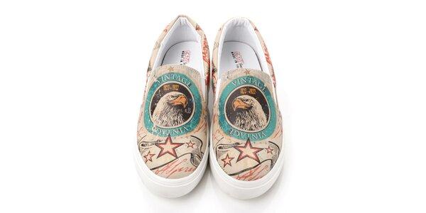 Pánske loafers s vintage orlom Elite Goby