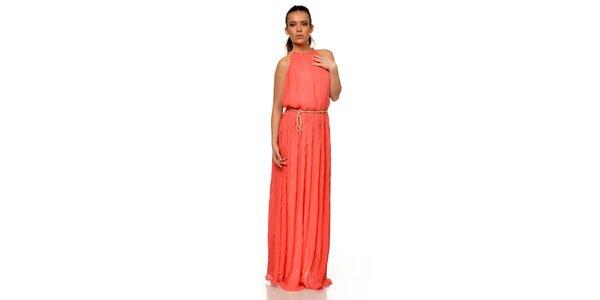 Dámske plisované šaty v korálovej farbe Joseph Alessander