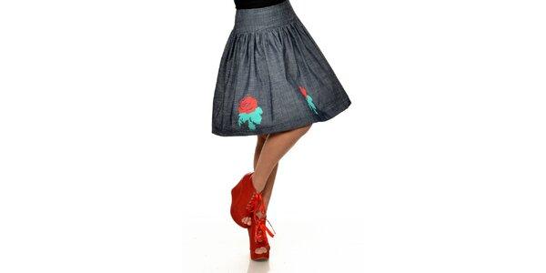 Dámska tmavá bavlnená sukňa s červenými ružami Joseph Alessander