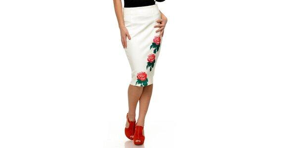 Dámska biela sukňa s červenými ružami Joseph Alessander
