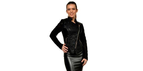 Dámska čierna koženková bunda s čipkou Joseph Alessander