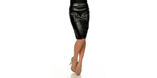 Dámska čierna koženková púzdrová sukňa Joseph Alessander