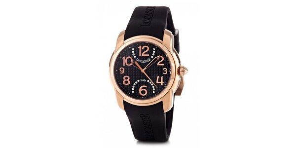 Dámske zlaté náramkové hodinky Lancaster s čiernym silikónovým remienkom a…