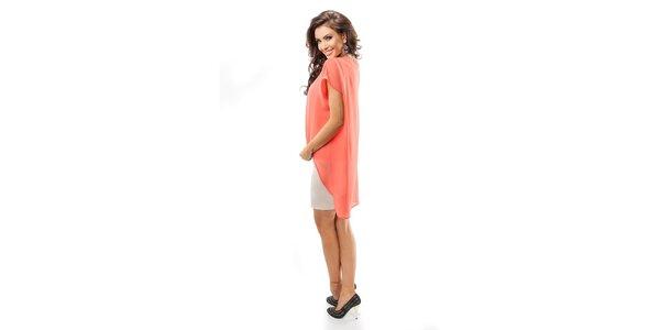 Dámske korálové šaty s béžovou sukňou Enny