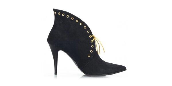 Dámske čierne nubukové topánky so šnurovaním Joana and Paola