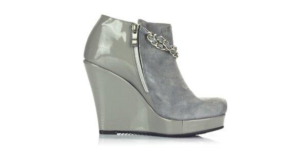 Dámske šedé topánky v kombinácii semišu a lakovanej kože Joana and Paolo