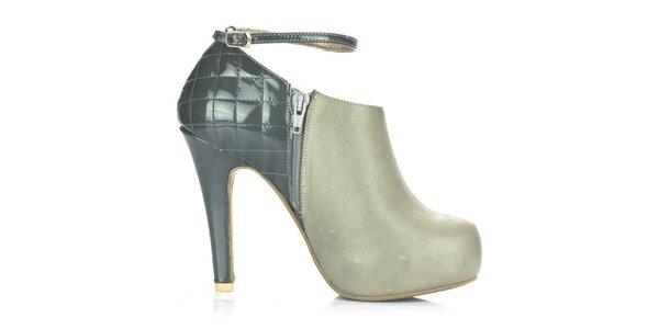 Dámske šedé kožené topánky s prackovým zapínaním Joana and Paola