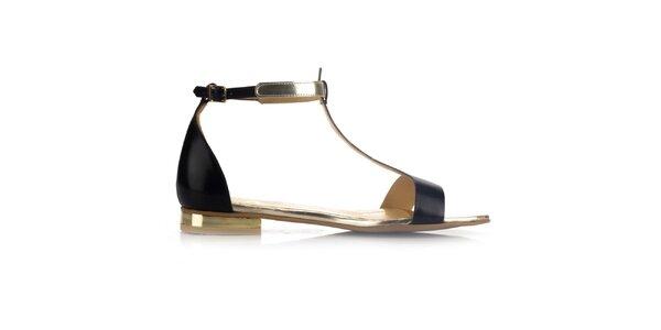 Dámske čierne kožené sandále so zlatými prvkami Joana and Paola