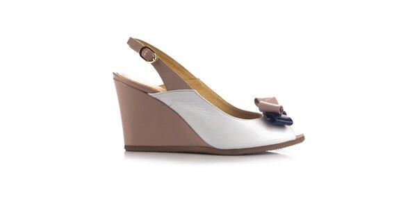 Dámske béžovo-biele kožené sandálky na kline Joana and Paola