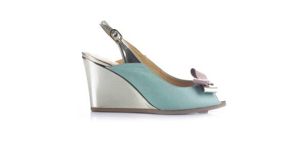 Dámske zeleno-zlaté kožené sandálky na kline Joana and Paola