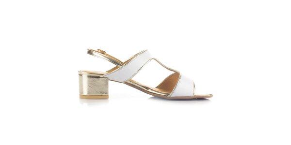 Dámske bielo-zlaté kožené sandále Joana and Paola