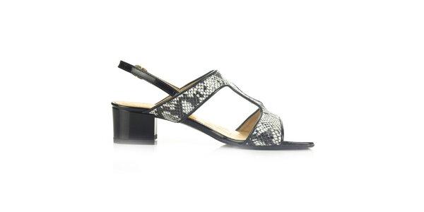 Dámske čierne kožené sandále s hadím vzorom Joana and Paola
