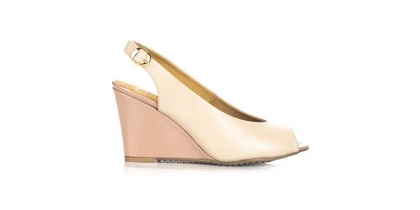Dámske béžovo-ružové kožené topánky na kline Joana and Paola