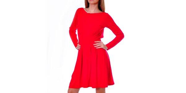 Dámske červené šaty s dlhým rukávom DAKA