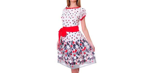 Dámske farebné šaty s červenou mašľou DAKA