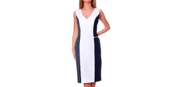 Dámske bielo-modré šaty s pruhovaným bokom DAKA