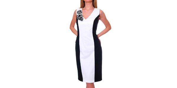 Dámske čierno-biele šaty s ozdobou DAKA