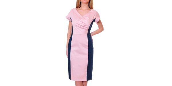 Dámske ružovo-modré púzdrové šaty DAKA