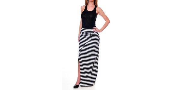 Dámska prúžkovaná asymetrická sukňa DAKA