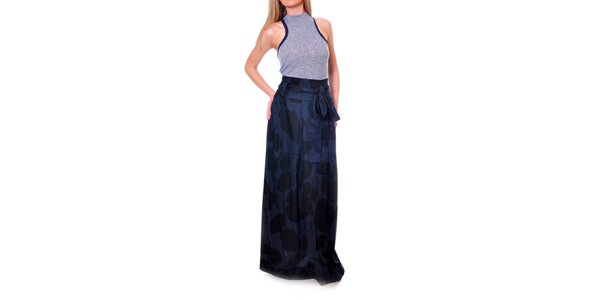 Dámska modro-čierna vzorovaná sukňa s vysokým pásom DAKA
