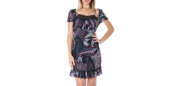 Dámske tmavomodré šaty s potlačou Nancy N.