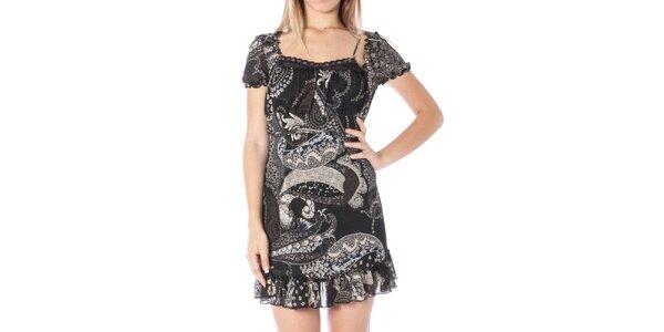 Dámske čierne šaty s potlačou Nancy N.