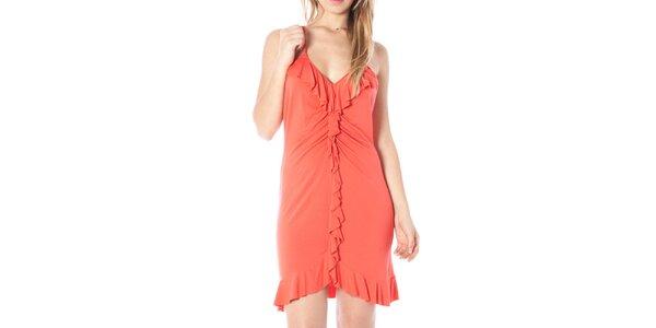 Dámske korálové šaty s volánikmi Nancy N.