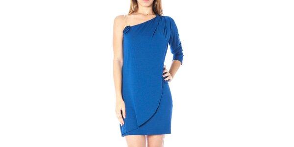 Dámske modré šaty s odhaleným ramenom Nancy N.