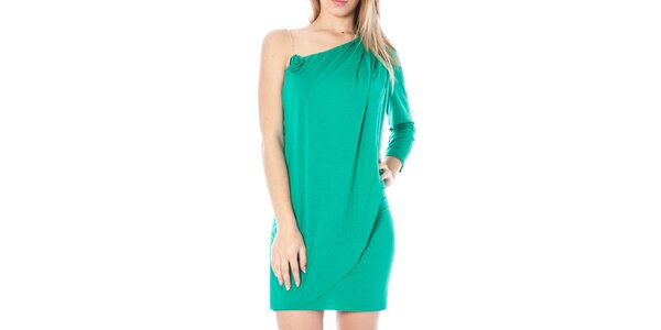 Dámske zelené šaty s odhaleným ramenom Nancy N.