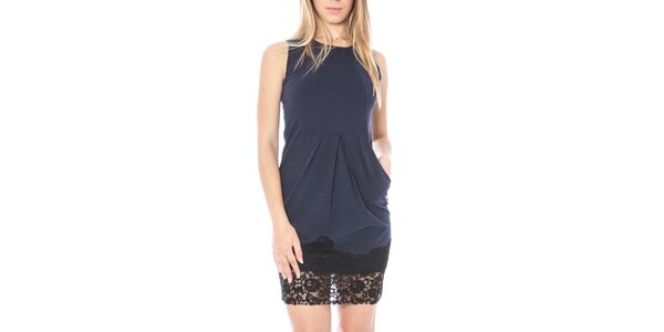 Dámske modré šaty s čipkovaným lemom Nancy N.