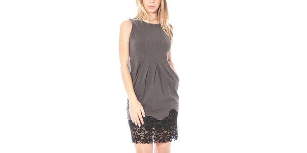 Dámske hnedošedé šaty s čipkovaným lemom Nancy N.