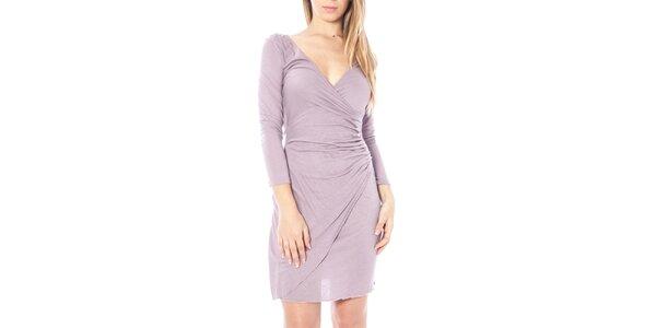 Dámske svetlo fialové nariasené šaty Nancy N.