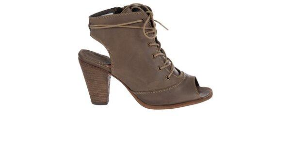 Dámske hnedé kotníkové topánky Hudson s vykrojenou špičkou a pätou