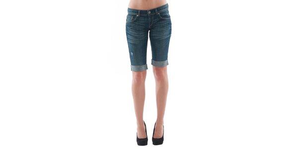 Dámske tmavo modré džínsové šortky s odreninami Fornarina