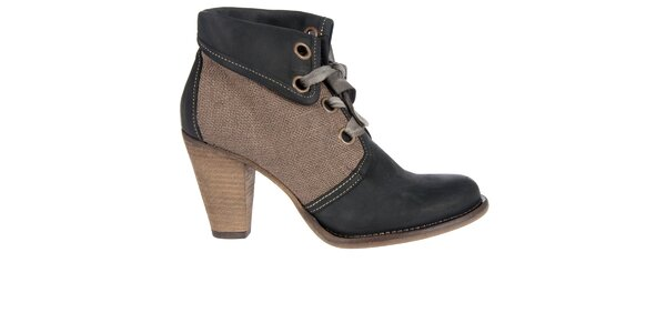 Dámske čierno-hnedé kotníkové topánky Hudson