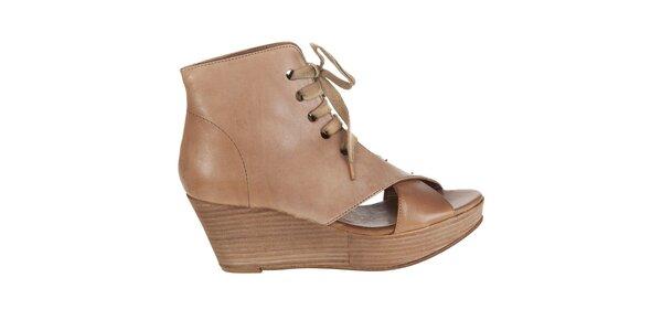 Dámske svetlo hnedé kotníkové topánky Hudson s otvorenou špičkou