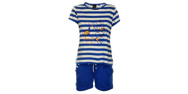 Dámske modré prúžkované pyžamo Disney - šortky a tričko