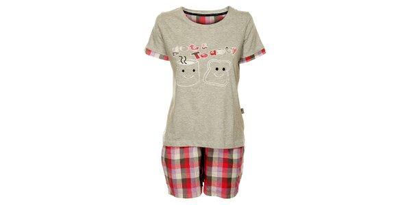 Dámske šedé pyžamo Marie Claire - šortky a tričko