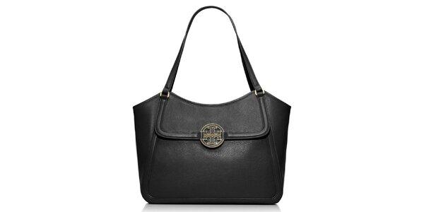 Dámska čierna kožená kabelka cez rameno Tory Burch
