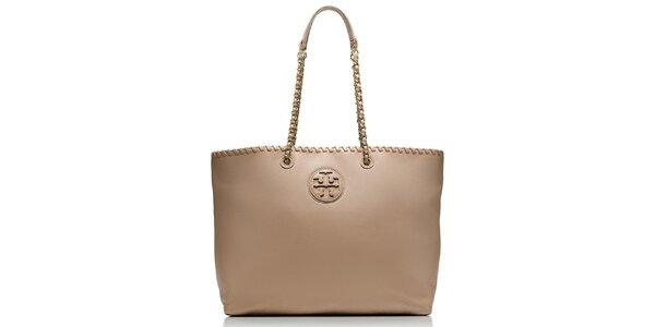 Dámska béžová kožená kabelka s retiazkovými pútkami Tory Burch