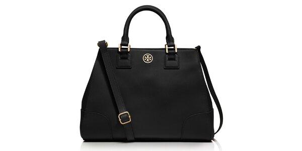 Dámska čierna kožená kabelka s plieškom Tory Burch